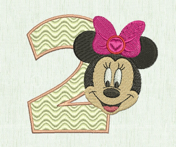 Minnie mouse embroidery second birthday machine design