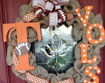 TN Vols wreath. Tennessee Vols wreath. Tennessee decor. TN football wreath. TN Vols football wreath. Go Vols. Orange and white.