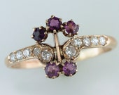 Vintage Antique 1/2ct Amethyst & Diamond 14K Yellow Gold Victorian Cocktail Ring