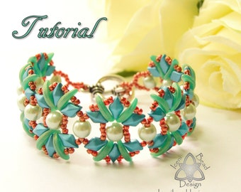 Pdf Tutorial Fiesta Bracelet with DiamonDuos, Crescent Beads and Glass Pearls, Beading Pattern English Only,