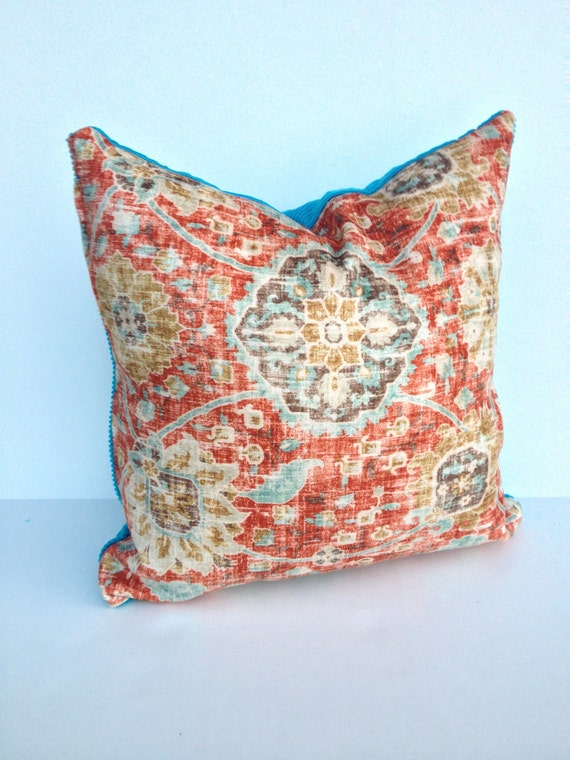 set of 2 orange and turquoise 18 inch pillow by mspipersplace2. Black Bedroom Furniture Sets. Home Design Ideas