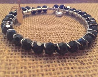 Black bead bangle bracelet