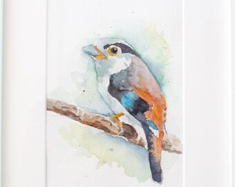 Original Watercolor Painting, One of a kind Blue Bird Watercolour