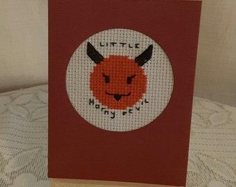 small cross stitched emojji card