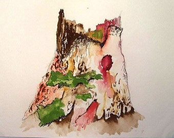 Tree Stump Watercolour