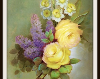 Yellow Roses + Purple Lilacs + Daffodils Still Life Book Print (1970s), Frameable Floral Wall Art, Shabby Chic Home Decor, Flower Picture