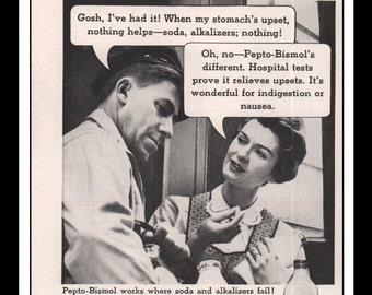 "Vintage Print Ad May 1957 : Pepto Bismol Illustration Wall Art Decor 5.5"" x 10.25"" Advertisement"