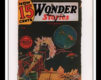 "Vintage Print Ad Sci Fi Cover : Wonder Stories July 1935 Frank Paul Illustration Wall Art Decor 8.5"" x 11 3/4"""