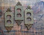 Vintage Hammered Brass Outlet Cover (LISTING FOR ONE)