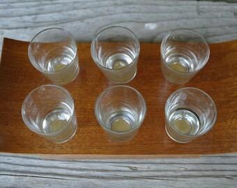 Soviet vintage shot glasses vodka glasses liquor glasses Set of 6 on wooden pallet.