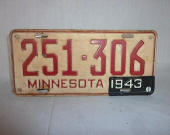Vintage 1942 Minnesota License Plate WWII