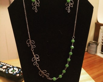 Beaded Branch Earring and Necklace Set