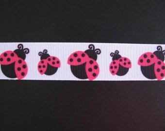 pink ladybugs 7/8' grosgrain ribbon