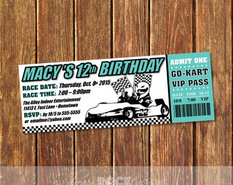 Go-Kart Ticket Invitation, Kart Racing Ticket Invite