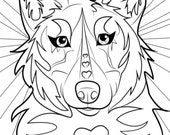 Coloring page, wolf, wolf coloring page