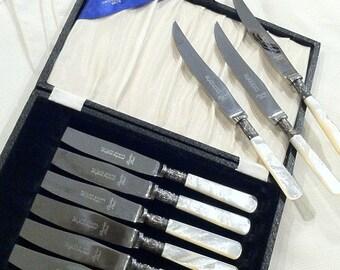 William Adams Pearl Handled Steak Knives. Sterling Bolsters, regency flatware, regency silverware, Sheffield England, wedding bridal set