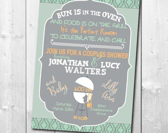 Couples BABY Q Invitation - BabyQ Baby Shower Invitation - Backyard BBQ Invite - Co-Ed Baby Shower Invite - Digital File - Printable