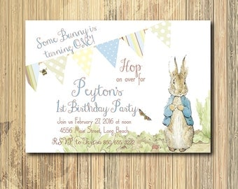Vintage Peter Rabbit Birthday Invitation / DIGITAL FILE / printable / wording and age can be changed