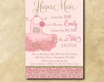 "Baby GIRL Shower Invitation..""Tutu Excited""/Digital File/printable/tutu excited invitation, pink and gold, glitter/wording can be changed"