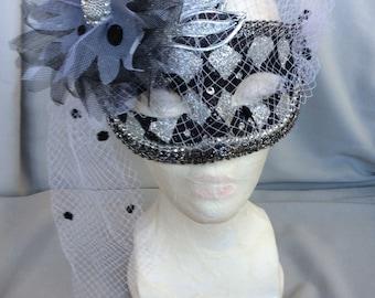 Carnival Mask Black /Silver w/ big flower Handcrafte