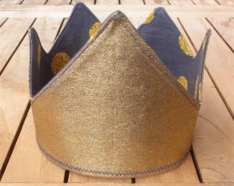 Gold denim, reversible kids dress-up party crown (navy with glitter spots)