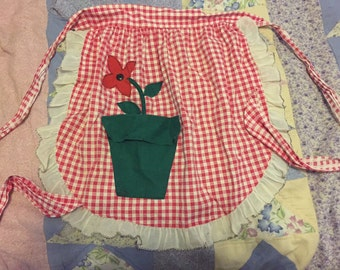 Darling Flower In Pot Motif Apron C1950's