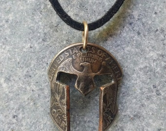 Spartan Mask Pendant Necklace Handcrafted From U.S. Quarter