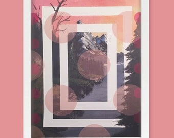 Pink Mountain with Trees Print