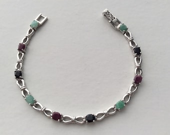 Extra 20% Off Natural Gemstone - Genuine Emerald Sapphire Ruby Sterling Silver Tennis Bracelet 7 3/8 inches