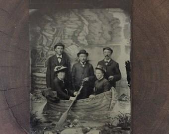 Antique Row Boat Tin-type Photograph