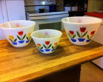 Fire king bowl tulips