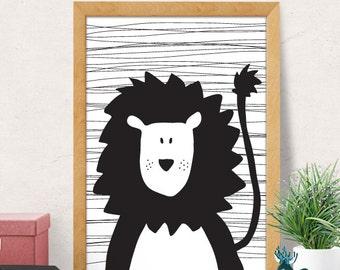 Cute Lion Nursery Print, Lion Nursery, Nursery Wall Art, Nursery Wall Decor, Kids Print, Monochrome Nursery Decor, Black White Nursery