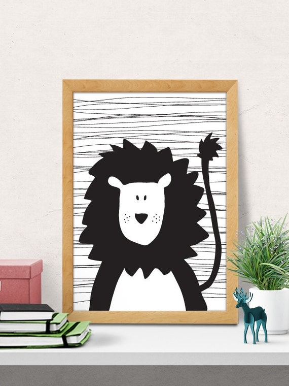 Cute Black Wall Decor : Cute lion nursery print wall art