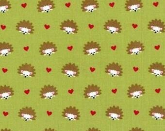 Hedgehog Fabric - Fox Woods by Michael Miller Hedgehog Heaven in Lime - Fabric by the Half Yard
