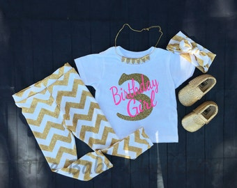 Third Birthday Outfit Set, Pink, Birthday Girl Outfit, Girls Outfits,Gold Chevron,Gold Glitter Outfits,Gold Glitter,Leggings,Headband,Shirt