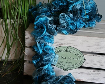 Beautiful Ocean Blues Lace Ruffle Scarf