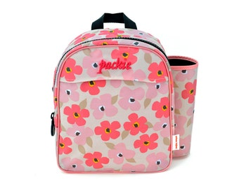 Preschool/Daycare Backpack with Art Silo - PINK POPPIES