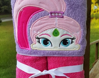 Pink Genie  Hooded Towel with FREE Embroidered Name