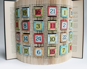 Book Folding Pattern + cuts Advent Calendar: + Free printable downloads (pdf) to personalise your book art and full step by step tutorial