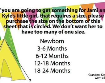 Camping Baby Shower Size Form