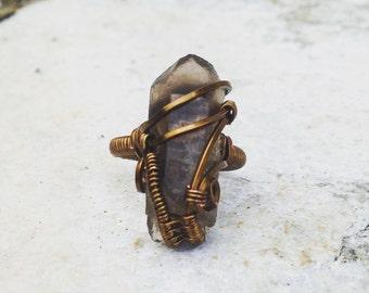 Size 3.5 Smokey Quartz bronze wire wrapped ring