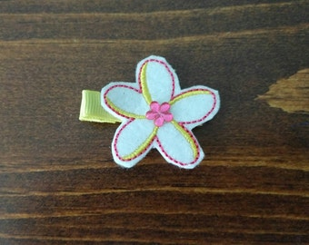 White Pink and Yellow Felt Flower Hair Clip