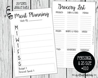 A5 and Personal Size Planner Insert: Meal Planning and Grocery List | Kikki K, Filofax, Webster Pages | #010