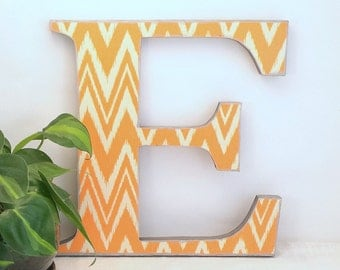 Letter E - Wood Letter - Chevron Wall Letters - Wooden Letter Wall Decor - Wooden Letter - Gallery Wall Letters - Ikat - Contemporary Decor