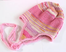 Pink Earflap Hat, Baby Trapper Hat, Fairisle Baby Hat, Pink Baby Hat, Funky Baby Hat, Soft Baby Hat, Hand Knit Baby Hat, Cute Baby Hat