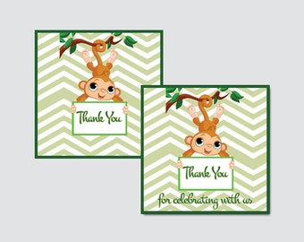Monkey Around Baby Shower Printable Favor Tag - Monkey Around Baby Shower Favor Tags - Thank You Tag, Monkey Favor Tags