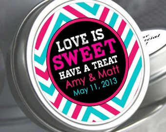 """12 Personalized Love is Sweet Chevron Mint Tins - Select the quantity you need below in the """"Pricing & Quantity"""" option tab"""