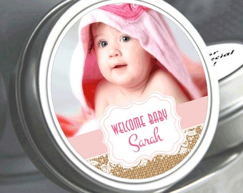 """12 Sweet Baby Burlap and Lace Baby Shower Photo Mint Tin Favors - Select the total you need in the """"quantity and pricing"""" drop down box"""
