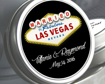 24 Personalized Married in Las Vegas Wedding Mint Tins - Las Vegas Sign Mint Tins - Fabulous Las Vegas Wedding Mint Tins - Wedding Decor