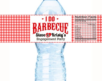 20 Water Bottle Labels, I Do BBQ, Engagement Party Wedding, Bachelorette, Bridal Shower, Customizable  Personalized Labels - I DO BBQ